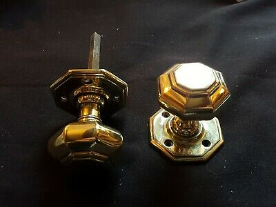 Antique Pair of Brass Victorian Door Knobs Handles Furniture (EER100)