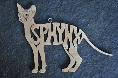 Sphynx Cat Kitten Wood Hand Made Christmas Ornament Scroll Saw Hang Tag