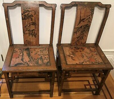 Pair of Chinese Mid 20th Century Lacquer Arm Chairs.