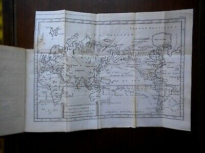 Circa 1773 French Language Book With A World Map