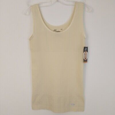 JKY by Jockey Women's Midrift Slimmer Tank Top Sz S Ivory Microfiber Stretch