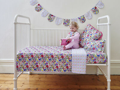 Primrose Girls Shabby Chic Floral Baby Cot Quilt Coverlet Crib Nursery Bedding