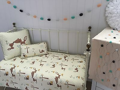 3 pce Nordic Squirrel Cot Quilt Coverlet  & 2 Cushions Baby Nursery Bedding