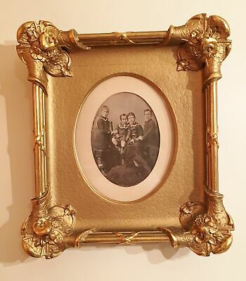 Antique Victorian Portrait Children Ornate Eastlake Picture Frame Gilded Carved