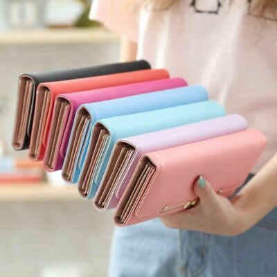 Women Leather Clutch Wallet Long Tri-fold Card Holder Purse Phone Handbag US
