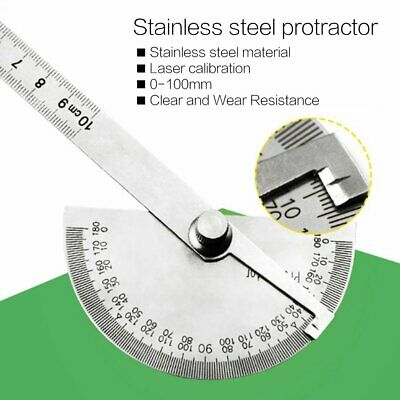 Stainless Steel 180 degree Protractor Angle Finder Arm Rotary Measuring Ruler KW