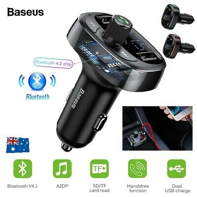 Baseus Handsfree Wireless Bluetooth Car FM Transmitter MP3 Player USB Charger AU
