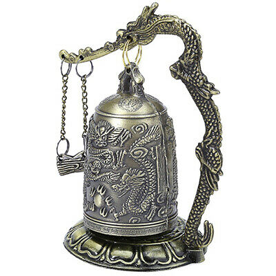 Lock Dragon Carved Buddhist Good Luck Bell Geomantic For Meditation Altar Smart