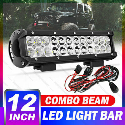 12inch 240W CREE LED Light Bar Work Spot Flood Beam Offroad + Wiring Harness