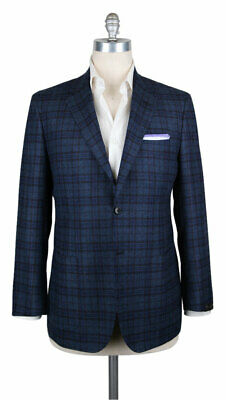 New $3300 Sartorio Napoli Dark Blue Plaid Sportcoat - 42/52 - (SA831173)