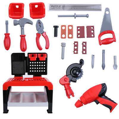 22.6'' Toddler Boy Toy Tool Set Box Workbench Pretend Play Girl Kid Drill Game