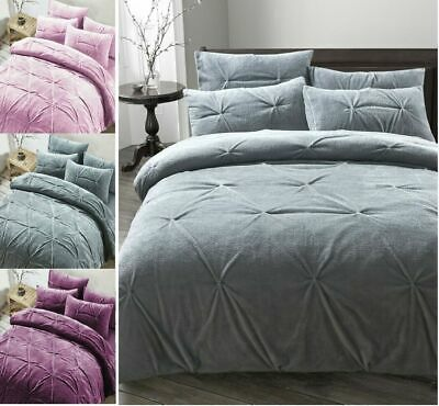 New Madison Pinch Pleat Pintuck Teddy Bear Fleece Duvet Cover Bed Set All Sizes