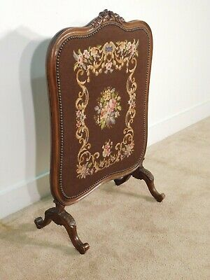 ANTIQUE Victorian Carved French Walnut Needlepoint Embroidered Firescreen Stand