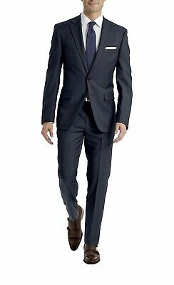 NEW Calvin Klein Mens Suit Navy Dark Size 40L 33W 2 Piece Wool Slim Fit Stretch