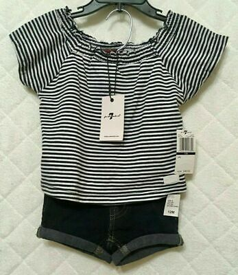 7 For All Mankind Baby Girls 2 PC Top & Shorts Set Blue/White SZ 12 M NWT $49.00
