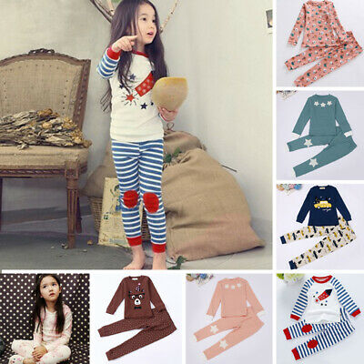 2Pcs Kids Boys Girls Cartoon Sleepwear Nightwear Pajamas Outfit Sets Sleepwear J