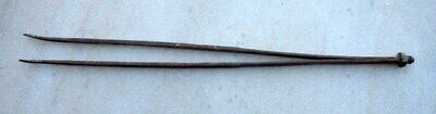 1850's Antique Hand Forged Hindu Temple Saint Dhuni Fire Pit Used Iron Big Tongs