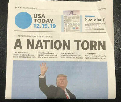 Historic Vote Trump Impeached-A Nation Torn 12-19-19 FULL Newspaper nyt