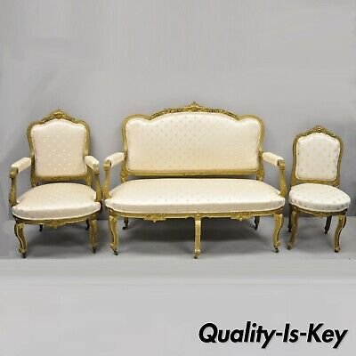 19th Century French Louis XV Style Gold Gilt Wood 3 Piece Parlor Salon Suite