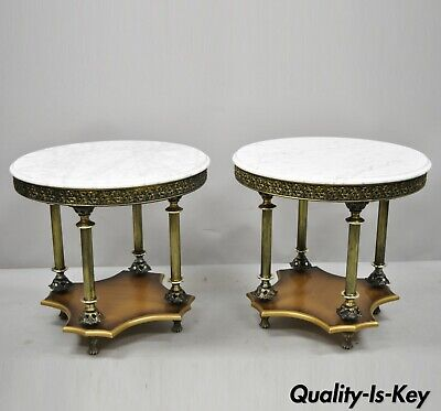 Pair of Vintage Italian Hollywood Regency Round White Marble Top Side Tables