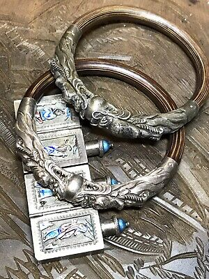 Two Chinese silver dragon bamboo bracelets