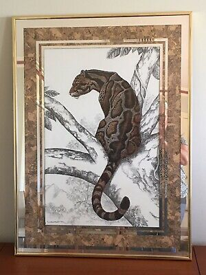 Vintage Leopard Picture by SUMARASEERA Mirror & Cork Surround Gold Frame