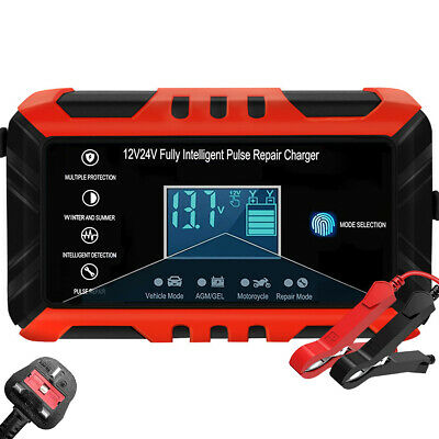 8Amp 12V 24V Automatic Smart Pulse Repair Motorcycle Car Battery Charger Starter