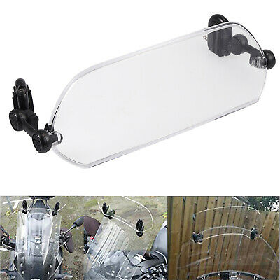 Clear Motorcycle Windshield Clip On Extension Spoiler Wind Deflector Protection