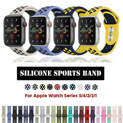 Silicone Sports iWatch Band Strap 40/44mm 38/42mm For Apple Watch Series 5 4 3 2