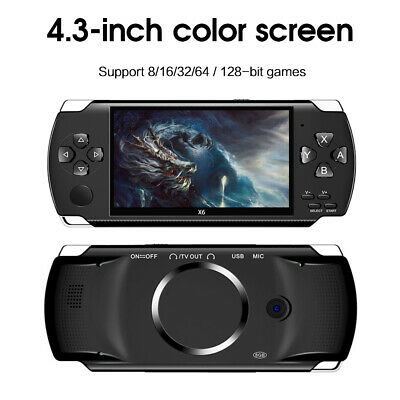 """64 Bit 4.3"""" PSP Portable Handheld Game 8GB Console Player 10000+Games+Camera X6"""