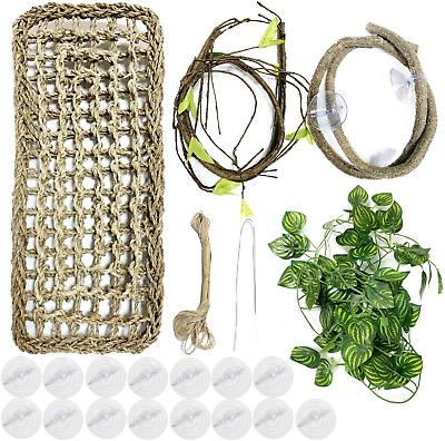 PietyPet 20 pcs Reptile Lizard Habitat Decor Accessories, Bearded Dragon Natural