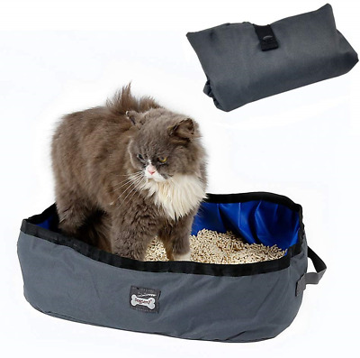 Petneces Cat Litter Box Foldable Portable Waterproof Cat Litter Tray for Travel