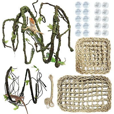 PietyPet 25 pcs Reptile Lizard Habitat Decor Accessories, Bearded Dragon Natural