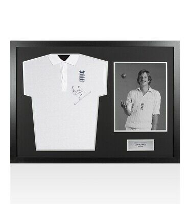 Framed Ian Botham Signed England Cricket Polo Shirt - Panoramic Autograph