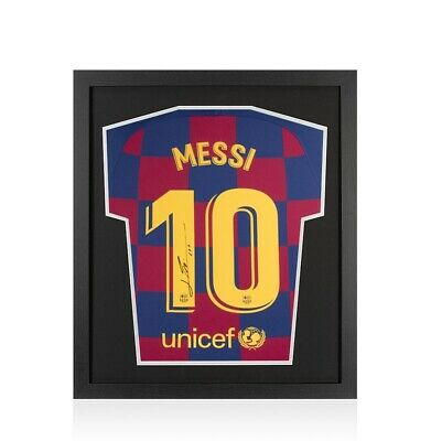 Framed Lionel Messi Signed FC Barcelona 2019-20 Home Shirt - Compact