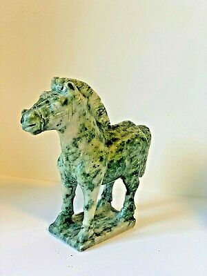 Vintage Chinese Jade Stone Carved Horse Statue