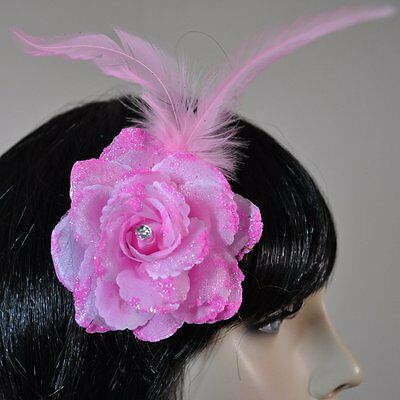 Flower Light Pink Rose Hair Clip Glitter Feathers Accessories