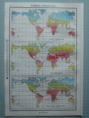 1952 Map ~ World Temperature January July Mean Annual