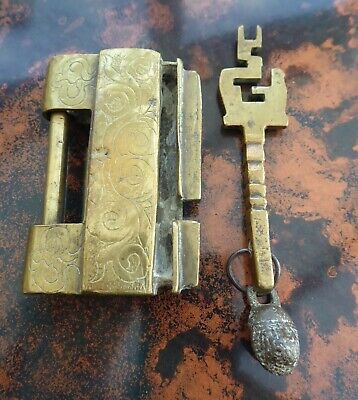 Ornate Brass Chinese Lock With Key 1920,S Free Shipping To England