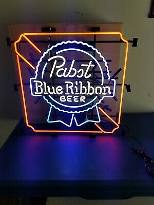 (L@@K) Pabst beer neon light up sign milwaukee pbr game room man cave rare new