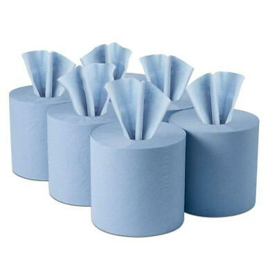 Centre feed Rolls Blue 2ply Embossed Hand Cleaning Tissue Paper Roll Wipes LARGE