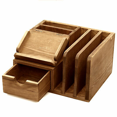 Rustic Wood Desk Accessory Storage Organizer, Post It Note Memo Pad Holder