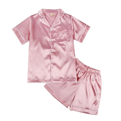 Minuya Baby Boys Girls Silk Pajamas Short Sleeves Nightwear Spring Summer 2 Pink