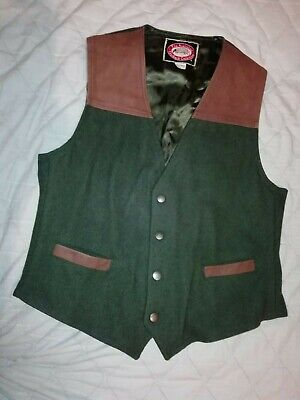 The Australian Outback Collection Green wool large Waistcoat leather trim 5600