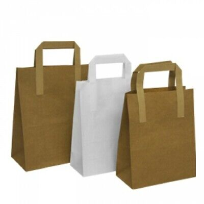Kraft Paper SOS Carrier Bags Brown & White with Flat Handles Gift Party Takeaway