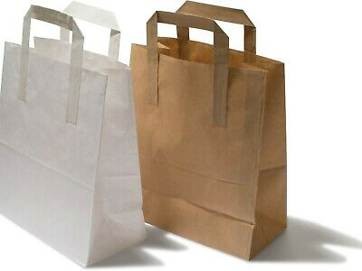 Small Large Kraft Paper Carrier Bags Brown & White with Flat Handles Gift Party