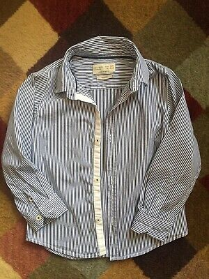 Zara Kids Collection Boys Stripe Baby Blue Dress Formal Slim Fit Shirt Sz 4 / 5
