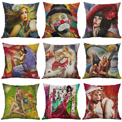 New Oil painting Cotton Linen clown Angell pillow case Cushion Cover Home Decor
