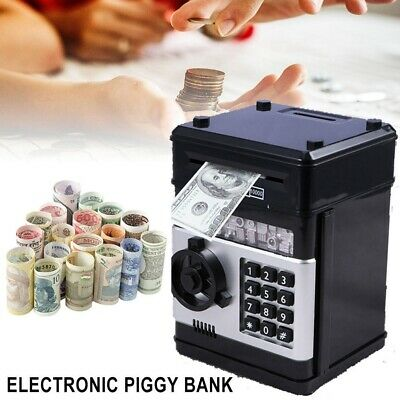 Electronic Piggy Bank ATM Password Money Box Coins Saving Automatic Deposit USA