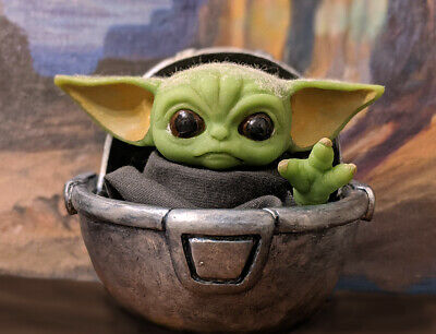 Baby Yoda Mandalorian Star Wars Custom Art Figure In Crib Limited Artist Made